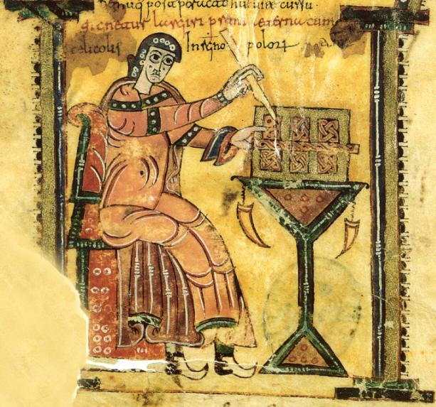 Vigila en su scriptorium (detalle) - Códice Albeldense (Códice 976 de El Escorial) folio XXIIv